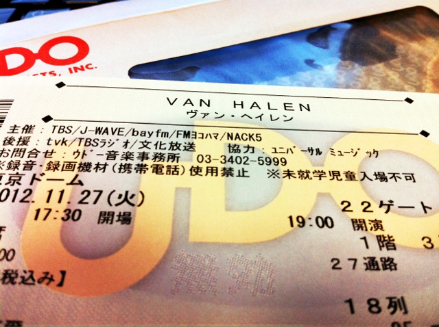 Van Halen Japan Tour 2012 ticket